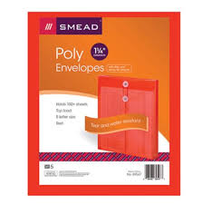 poly envelopes with string tie closure red 89547 smead