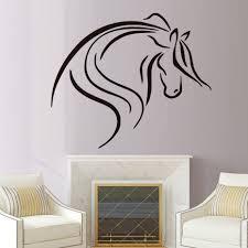 compra cabeza de caballo dibujos online al por mayor de china linea de dibujo creativo cabeza de caballo negro tatuajes de pared de vinilo removible home decor