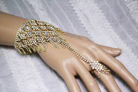 bracelet hand chain images Crystal diamond fringe cocktail statement gold hand chain slave JPG