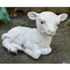 laying sheep farmyard animal garden statue ornament resin