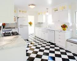 black and white linoleum kitchen flooring with white cabinet set