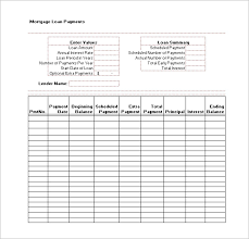 Excel Template Loan Amortization Loan Payment Schedule Template 6 Free Word Excel Pdf Format