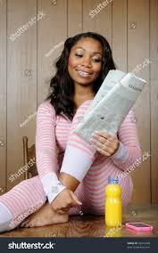 beautiful africanamerican pajamas morning stock photo