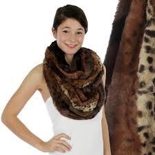 brown animal print faux fur infinity scarf wrap reversible gold