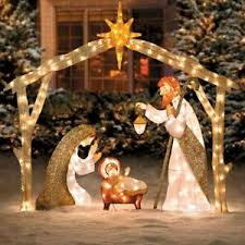 Christmas Yard Decor - outdoor lighted nativity display scene holy family pre lit