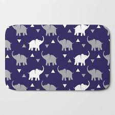 Navy Bath Mat Bath Mat Elephants Triangles Print Navy Blue Gray White