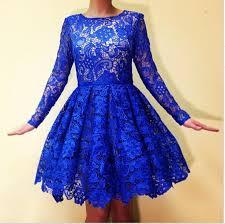 royal blue long sleeves lace homecoming dresses 2015 real image