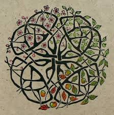 celtic knot apple tree striped pebble linocuts drawings and