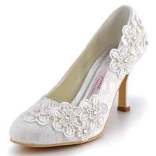 wedding shoes low heel ivory elegantpark women vintage closed toe pumps high heel