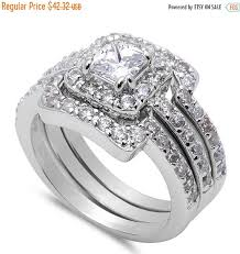 Wedding Ring Trio Sets by Wedding Engagement Anniversary Ring Trio Set Solid 925 Sterling