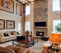 stone fireplace design with stylish wooden coffee table for