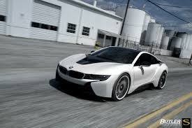 matte bmw i8 white bmw i8 savini forged wheels sv62d black with white accents
