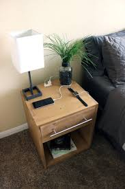 bedside l usb charger awesome handcrafted wooden nightstand w usb charging ports
