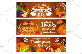thanksgiving banner set with turkey cornucopia illustrations
