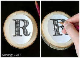 monogrammed wood slice ornament all things g d
