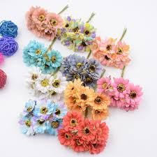 6pcs silk forest style daisy artificial flower bouquet for wedding