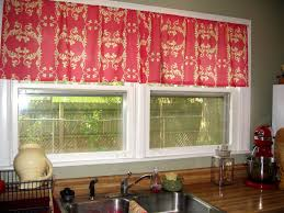 red kitchen curtain ideas beige striped fabric windows blinds