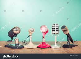 On Table Retro Old Microphones Press Conference Interview Stock Photo