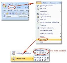 design form in word where is form toolbar in microsoft office 2007 2010 2013 and 365