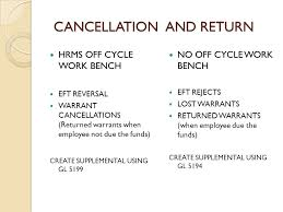 Bench Warrant Procedures Cancellation And Return Hrms Off Cycle Work Bench Eft Reversal