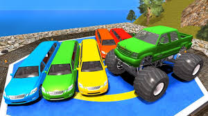 monster trucks videos on youtube learn vehicles color cars and trucks for kids colors for