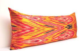 orange silk bolster ikat pillow case alesouk grand bazaar online