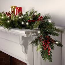 holiday time pre lit 18 christmas garland multi lights pre lit christmas cone berry battery operated garland