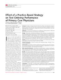 effect of a practice based strategy on test ordering performance