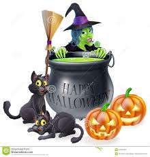 happy halloween witch and cauldron stock images image 34442384