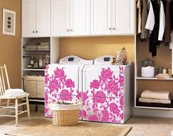 Vintage Laundry Room Decorating Ideas by Flocked Flower Block Decal Trading Phrases