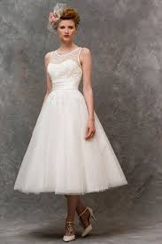 tea length illusion neck lace bodice tulle vintage a line wedding
