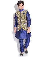 kurta colors riwaaz yellow blue color kurta pajama set with jacket for kids
