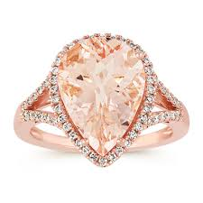 pink morganite pear shaped pink morganite and diamond ring in gold shane co