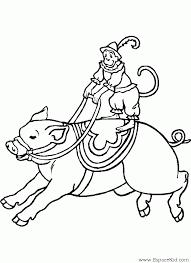 coloriage cochon et singe à imprimer dans les coloriages cochon