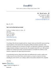 Notice Of Intent To Sue Letter by Byu Law Complaint Inc Cover Letter The Church Of Jesus Christ