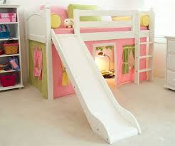 maxtrix low loft bed white with slide and curtains bed frames
