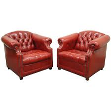 pair of vintage leather chesterfield chairs england circa 1920