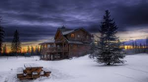 Winter House Log Tag Wallpapers Little Log Cabin Axe Simple Nature Canoe Woods