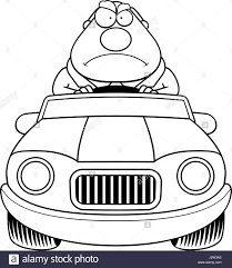cartoon car black and white a cartoon illustration of a businessman driving a car with an