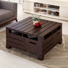 small walnut end table furniture of america crete vintage walnut coffee table overstock