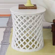 Moroccan Side Table Global Views Marble Arabesque Side Table Handcarved White Ogee