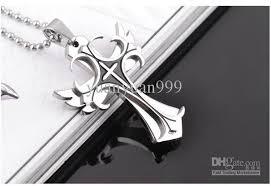 titanium cross necklace images Wholesale cool punk double layer cross necklace men pendant men 39 s jpg