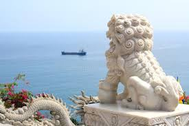 foo dogs statues marble statue of a foo dog guardian lion stock image