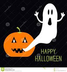 pumpkin candles flying ghost halloween card for kids flat design