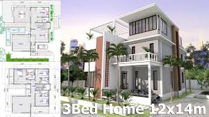 home plan sketchup home plan 12x14m 3 story house with 3 bedrooms youtube