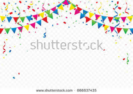 party confetti colorful party flags confetti ribbons falling stock vector