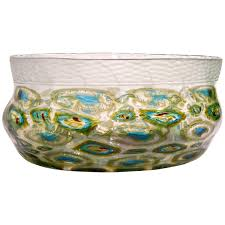 afro celotto art deco design glass bowl with peacock murrine and