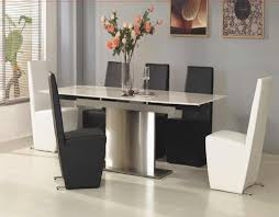 White Leather Dining Room Chair by Chair Apartment Formal Dining Room Design With Wooden Table And