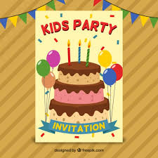 birthday invitation with cake and balloons in flat design vector