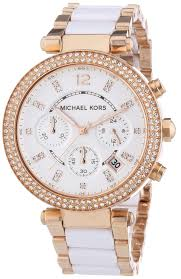 michael kors ladies parker rose gold u0026 ceramic chronograph